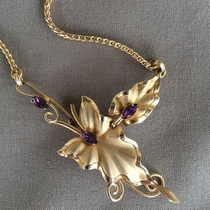 Vintage Gold-Tone Amethyst Accent Necklace